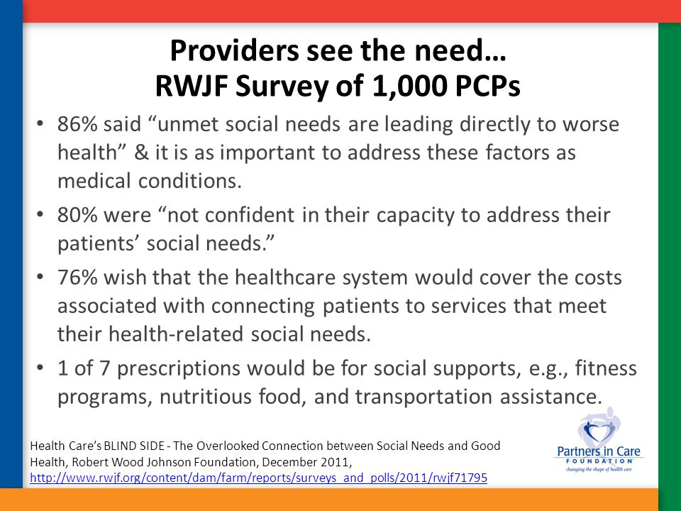 Providers see the need…