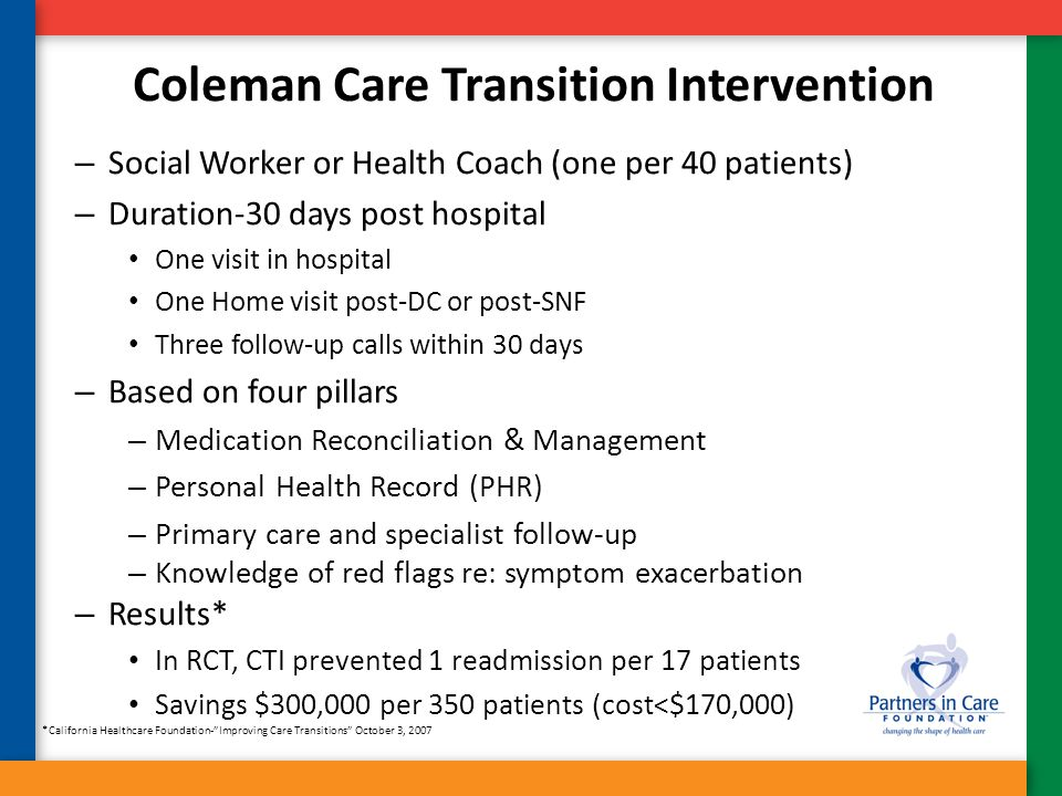 Coleman Care Transition Intervention