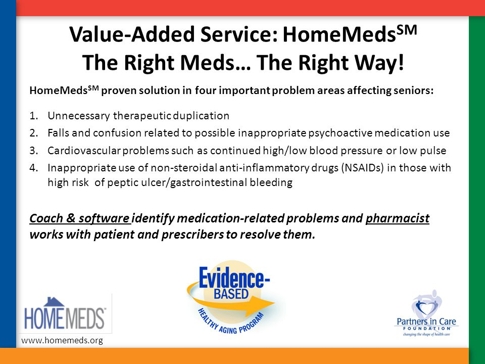 Value-Added Service: HomeMedsSM The Right Meds… The Right Way!