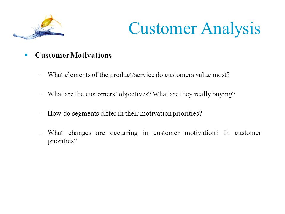 Customer Analysis Customer Motivations