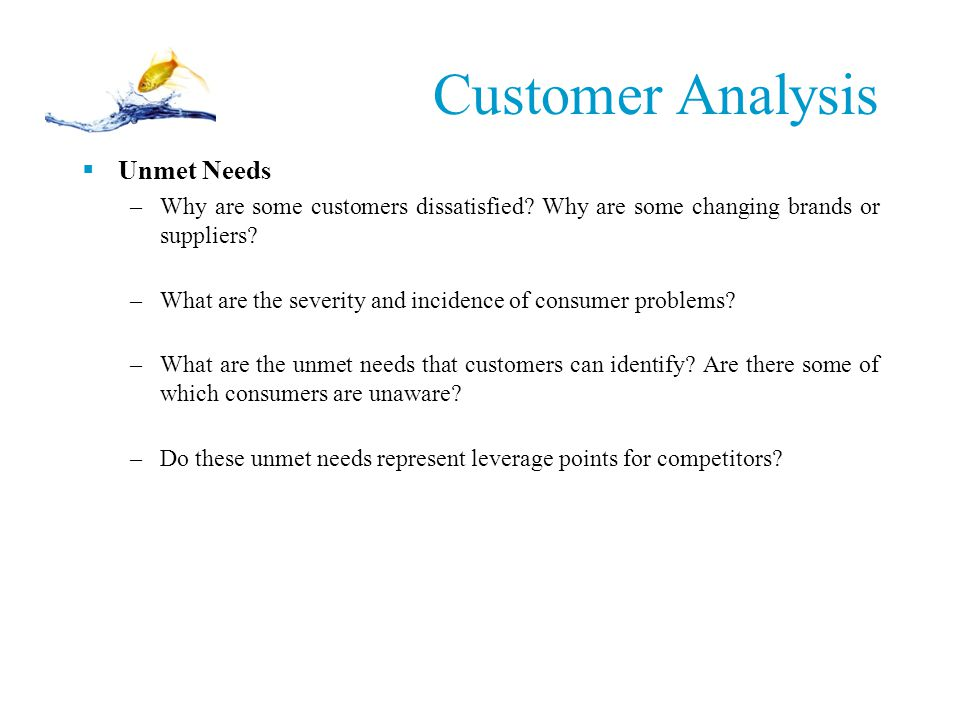 Customer Analysis Unmet Needs