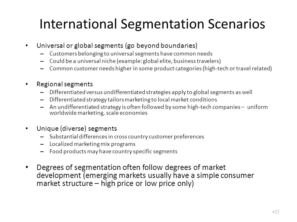 International Segmentation Scenarios