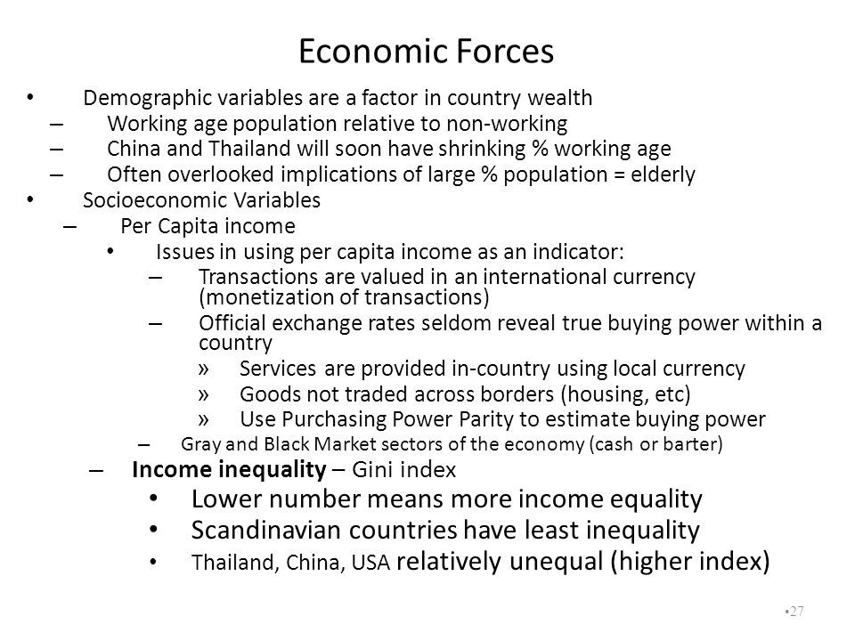 Economic Forces Lower number means more income equality