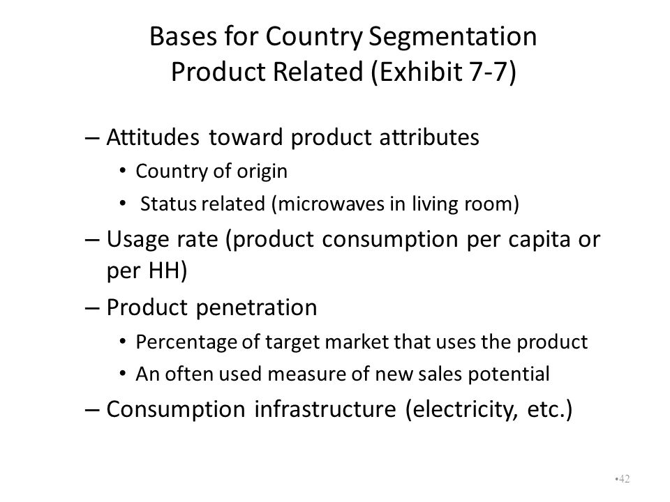 Bases for Country Segmentation Product Related (Exhibit 7-7)