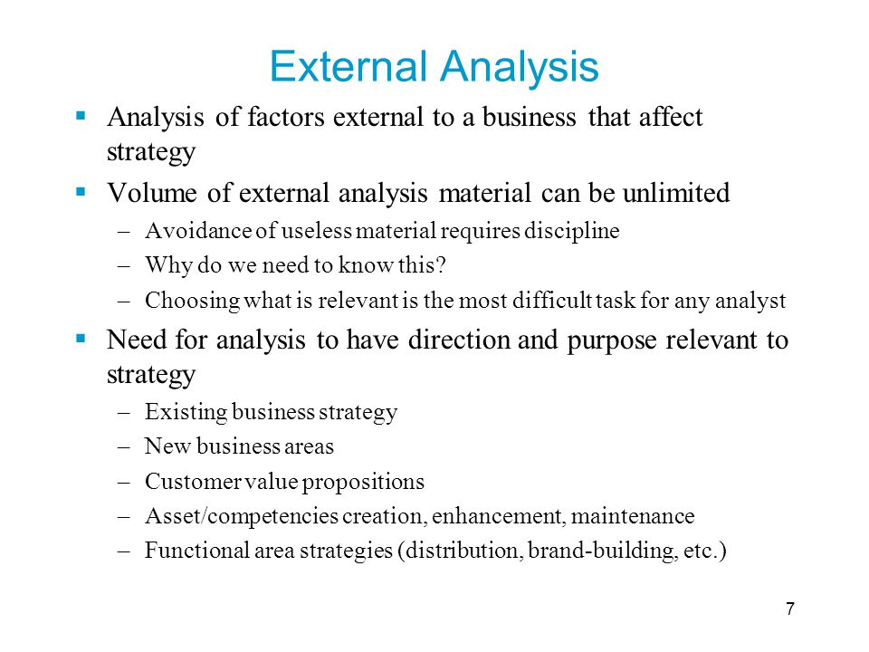 External Analysis Analysis of factors external to a business that affect strategy. Volume of external analysis material can be unlimited.