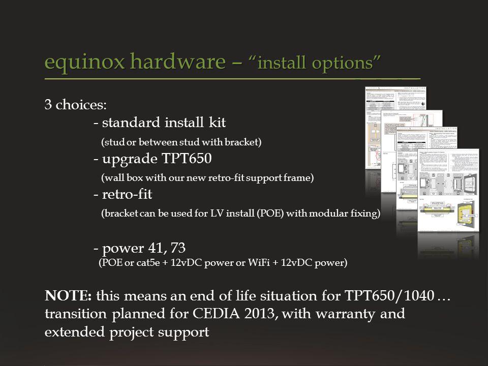 equinox hardware – install options