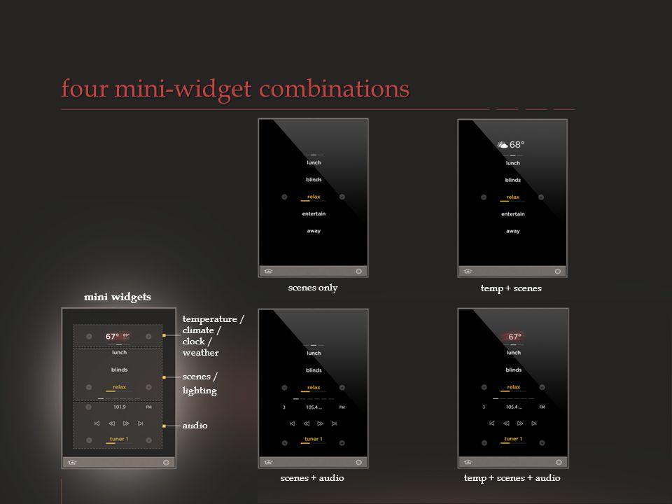 four mini-widget combinations