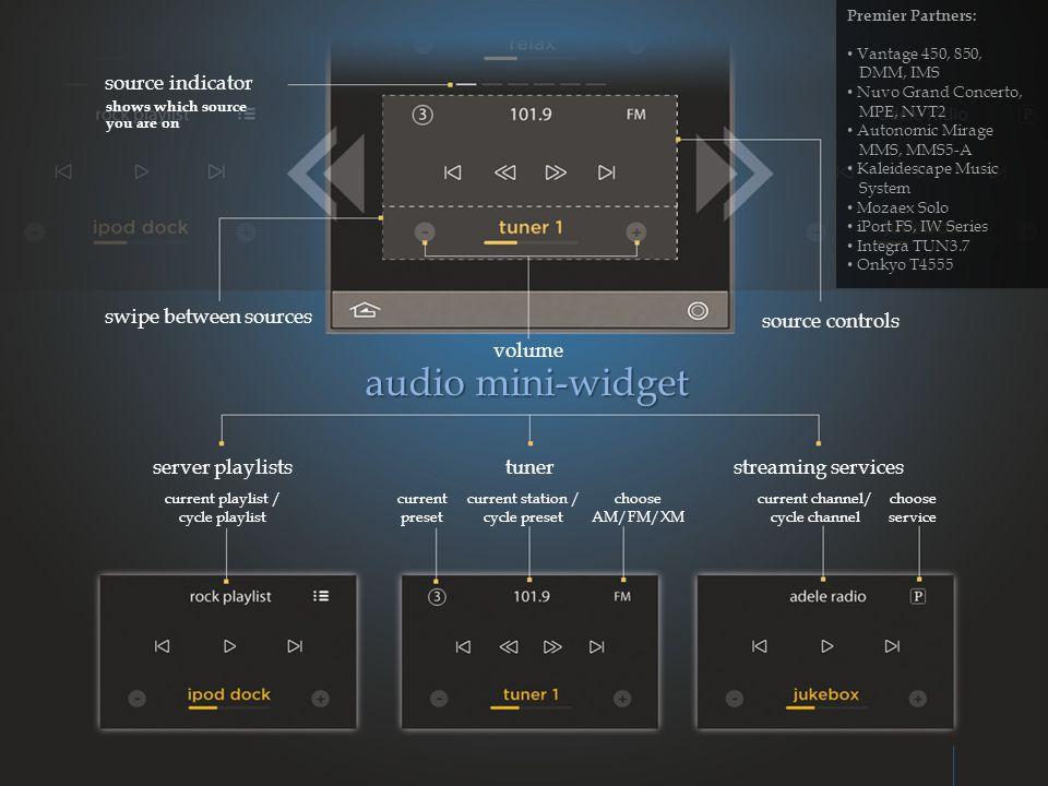 audio mini-widget source indicator swipe between sources