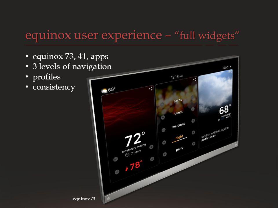 equinox user experience – full widgets
