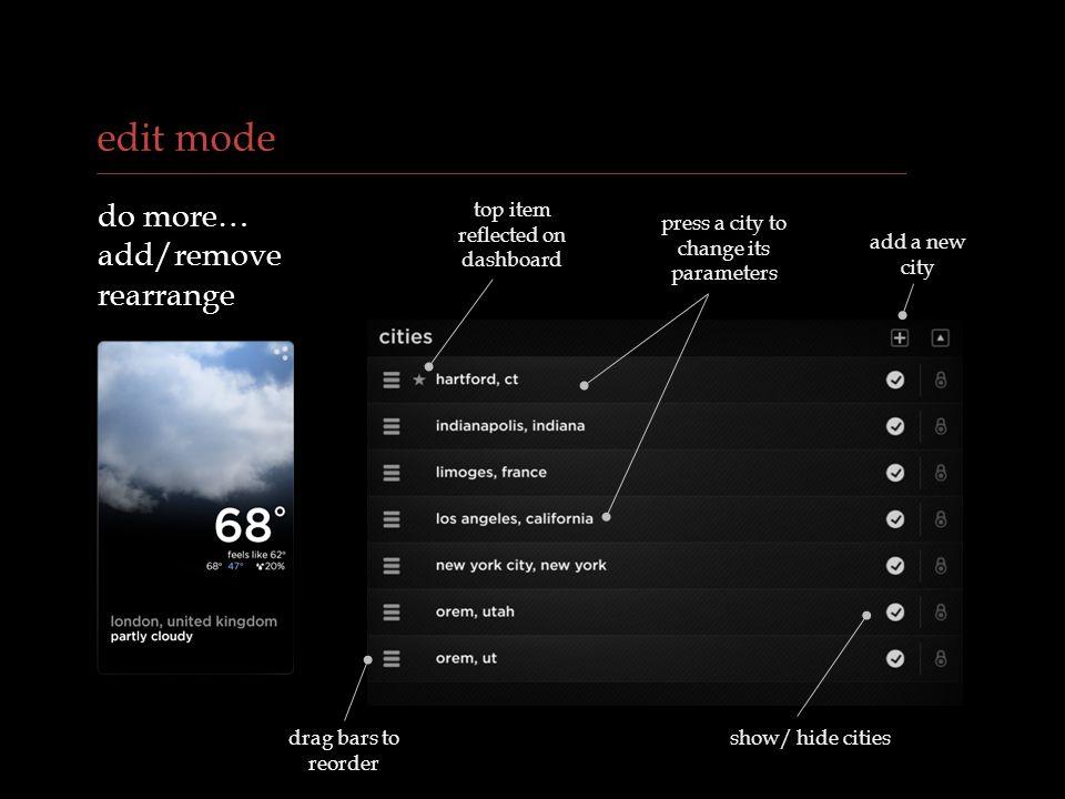 edit mode do more… add/remove rearrange