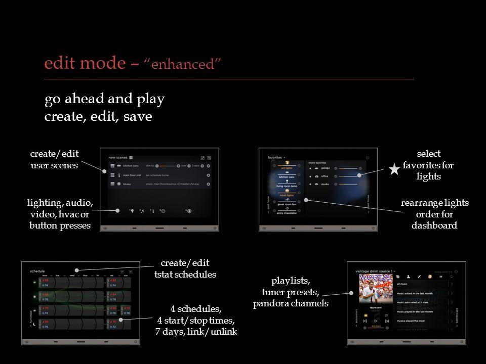 edit mode – enhanced go ahead and play create, edit, save