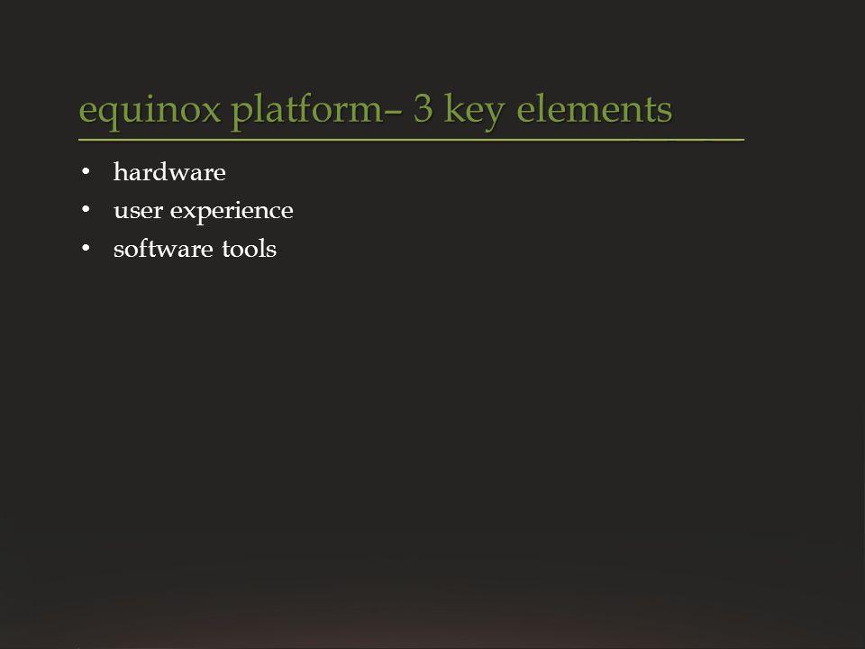 equinox platform– 3 key elements