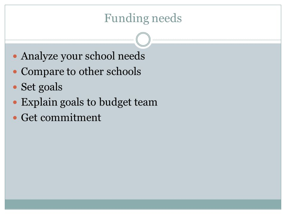 Funding needs Analyze your school needs Compare to other schools