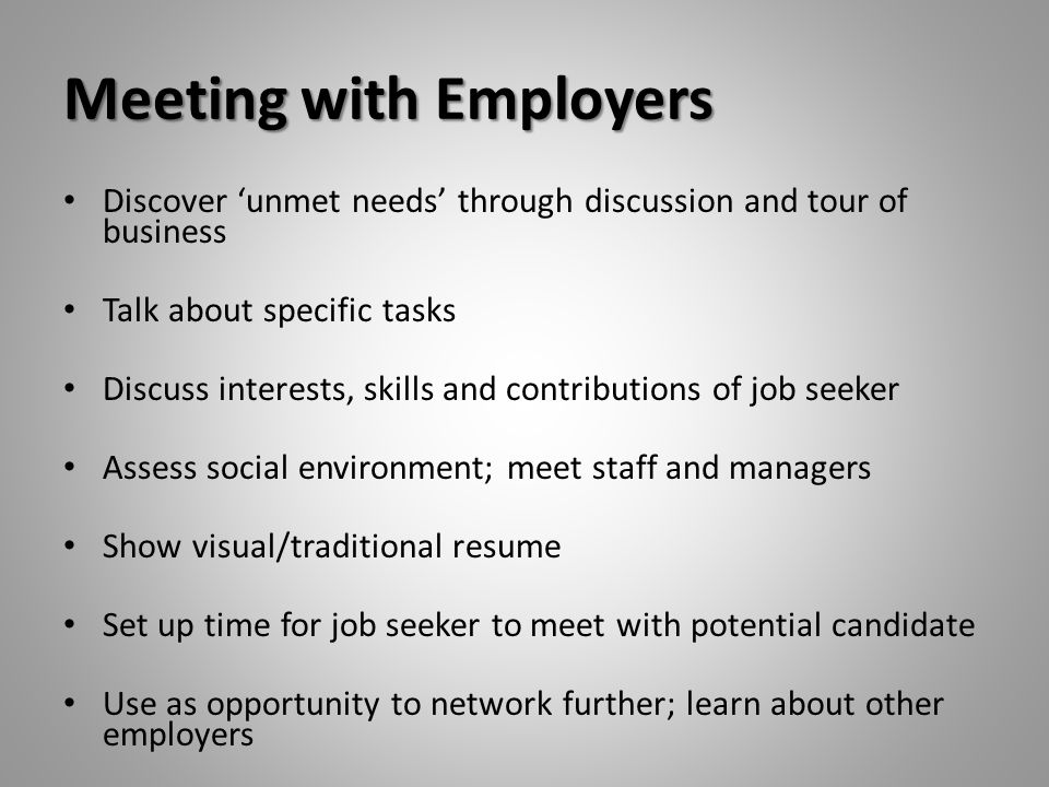 Meeting with Employers