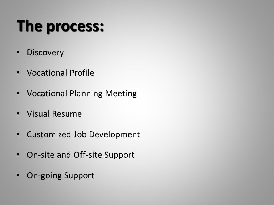 The process: Discovery Vocational Profile Vocational Planning Meeting