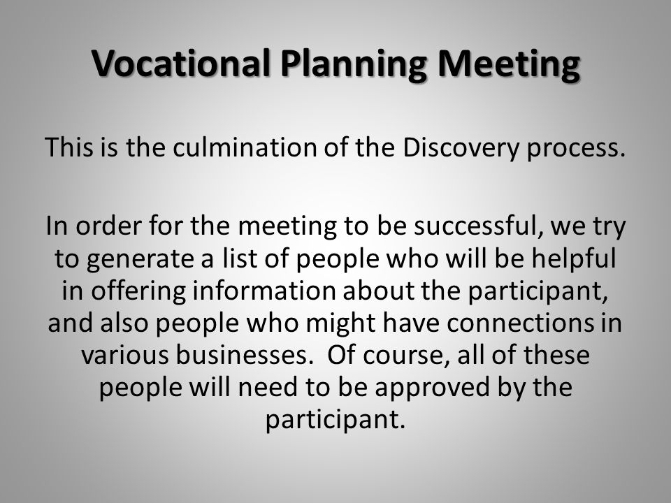 Vocational Planning Meeting