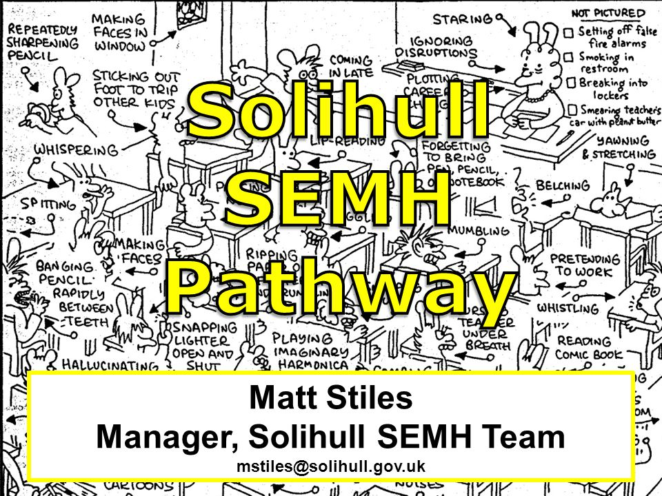 Manager, Solihull SEMH Team mstiles@solihull.gov.uk