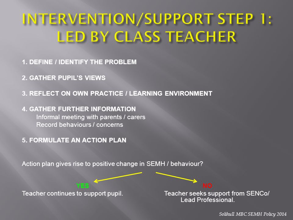 INTERVENTION/SUPPORT STEP 1: LED BY CLASS TEACHER
