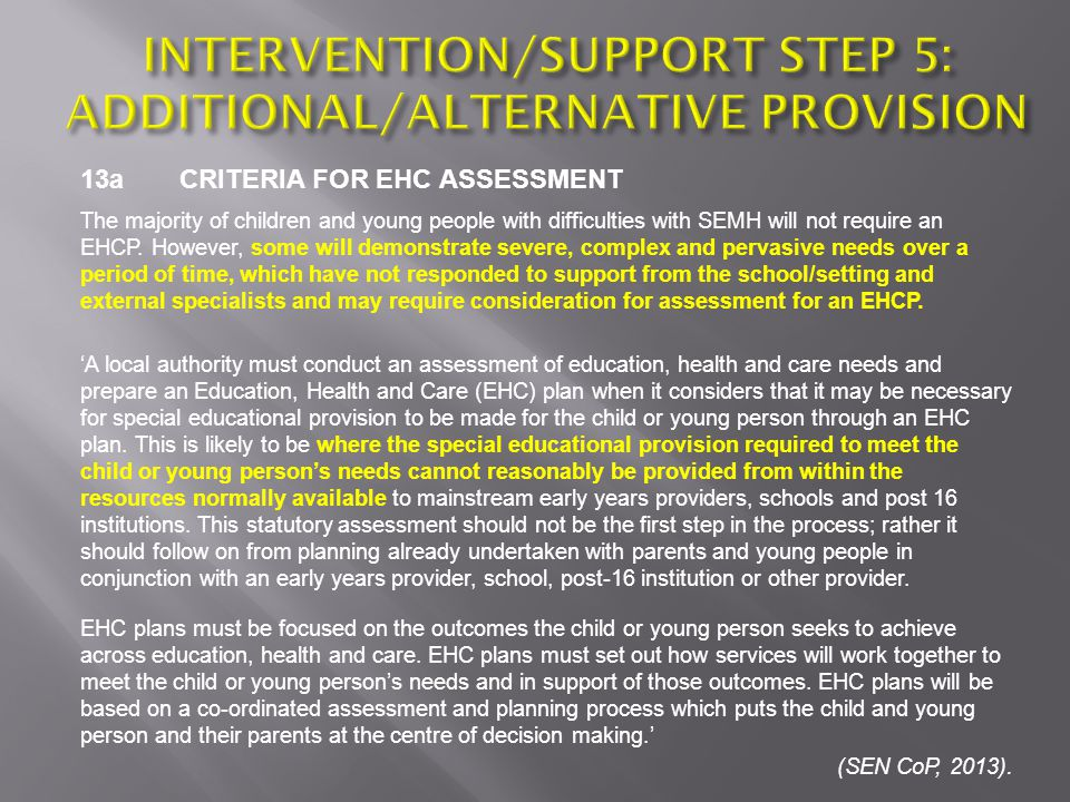 INTERVENTION/SUPPORT STEP 5: ADDITIONAL/ALTERNATIVE PROVISION