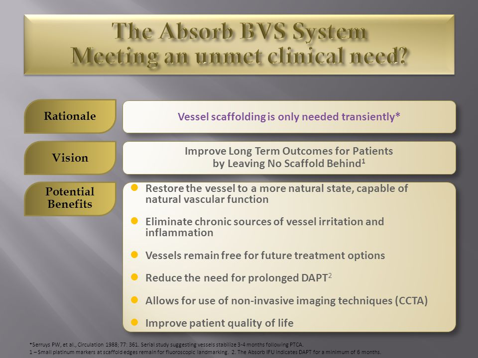 The Absorb BVS System Meeting an unmet clinical need