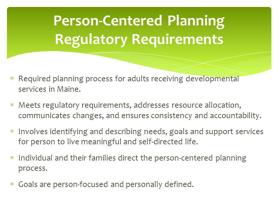 Person-Centered Planning Regulatory Requirements