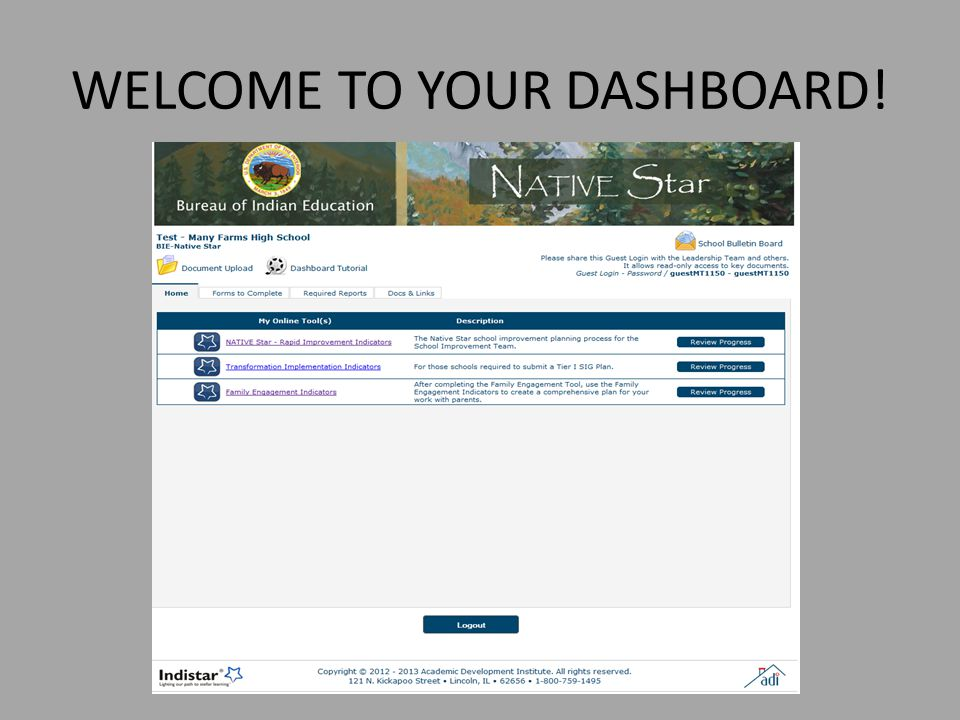 WELCOME TO YOUR DASHBOARD!