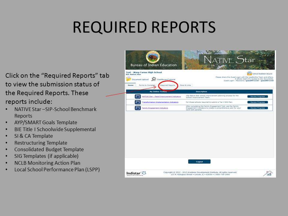REQUIRED REPORTS Click on the Required Reports tab to view the submission status of the Required Reports. These reports include: