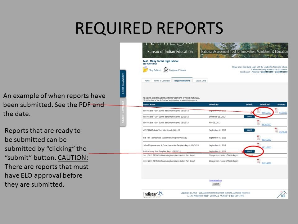 REQUIRED REPORTS An example of when reports have been submitted. See the PDF and the date.