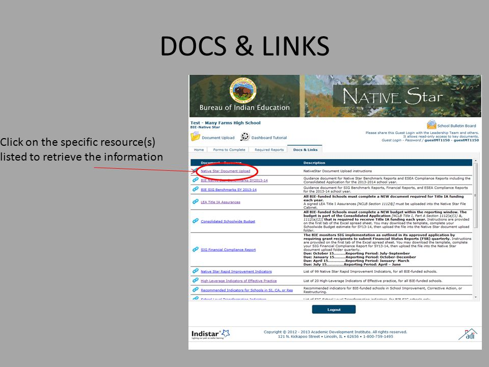 DOCS & LINKS Click on the specific resource(s) listed to retrieve the information