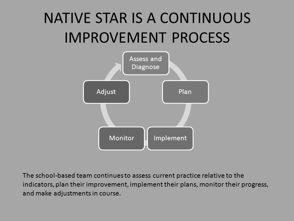 NATIVE STAR IS A CONTINUOUS IMPROVEMENT PROCESS