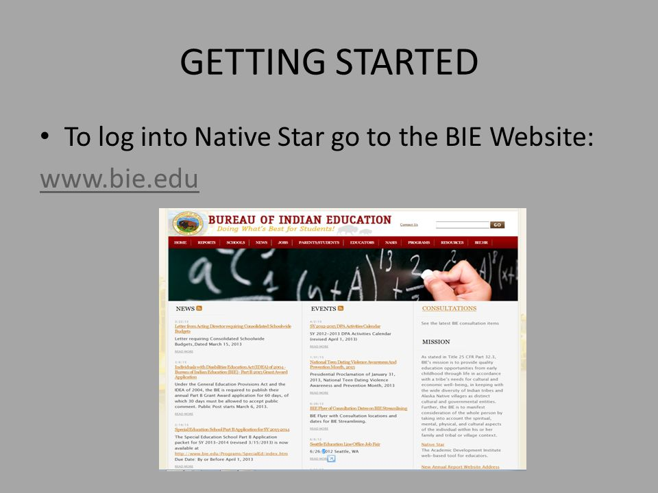 GETTING STARTED To log into Native Star go to the BIE Website: