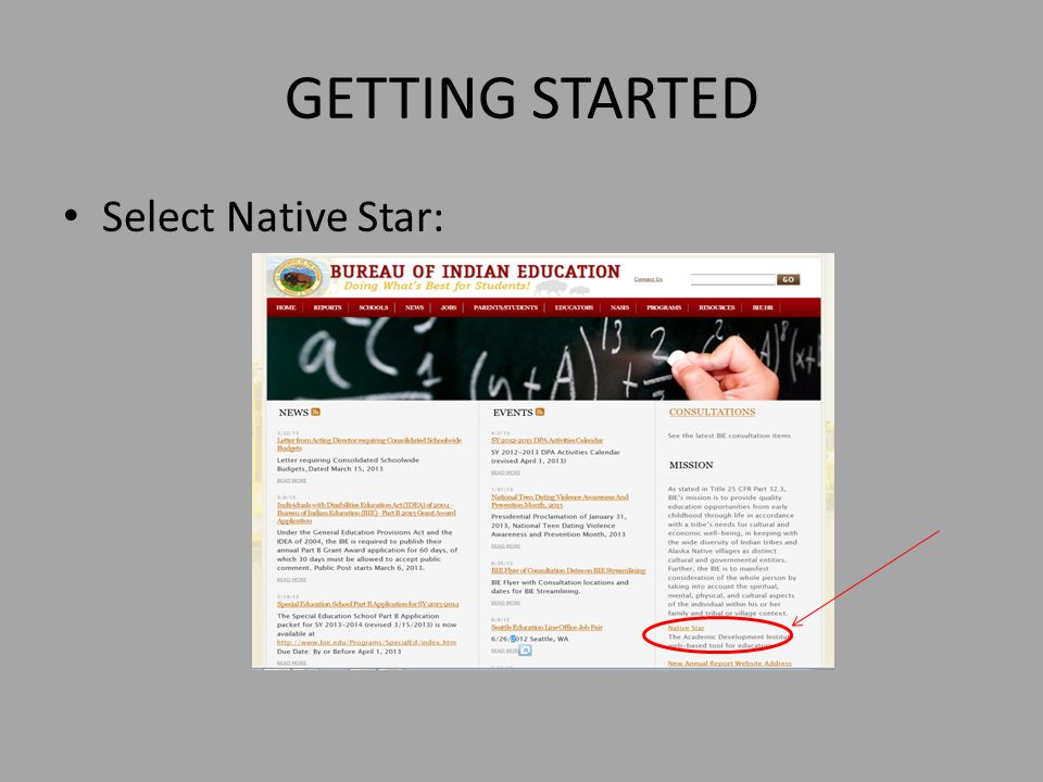 GETTING STARTED Select Native Star: