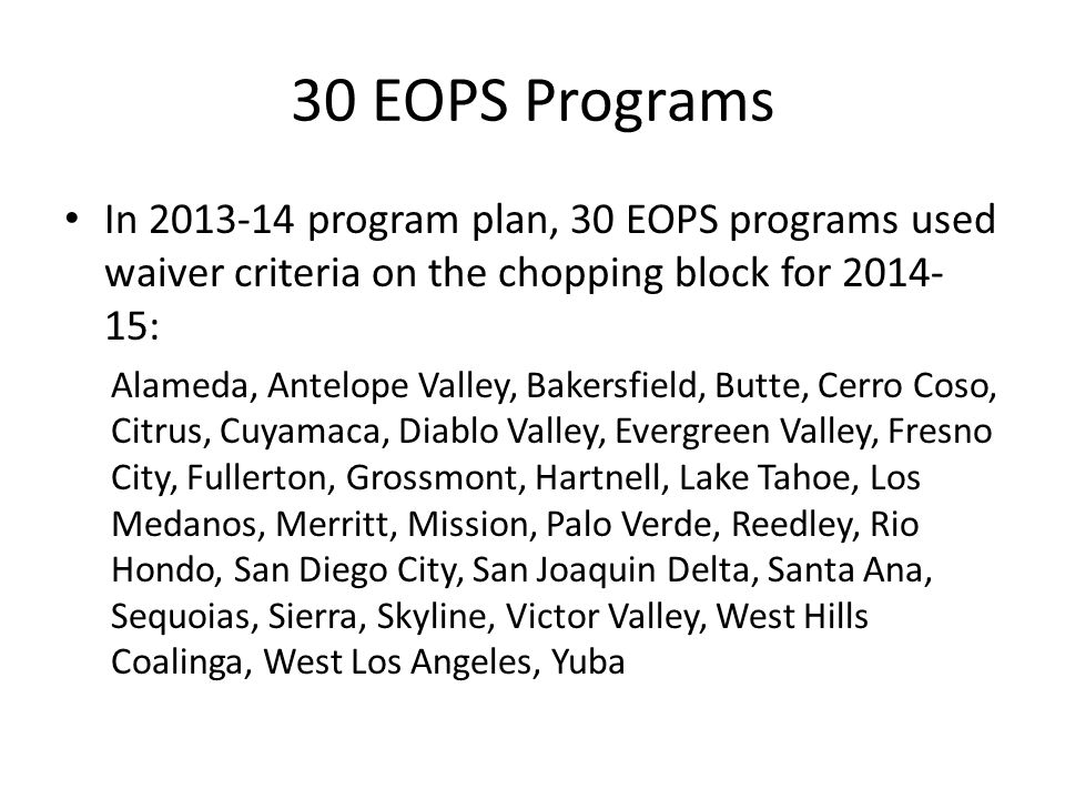 30 EOPS Programs In 2013-14 program plan, 30 EOPS programs used waiver criteria on the chopping block for 2014-15: