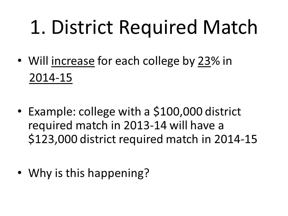 1. District Required Match