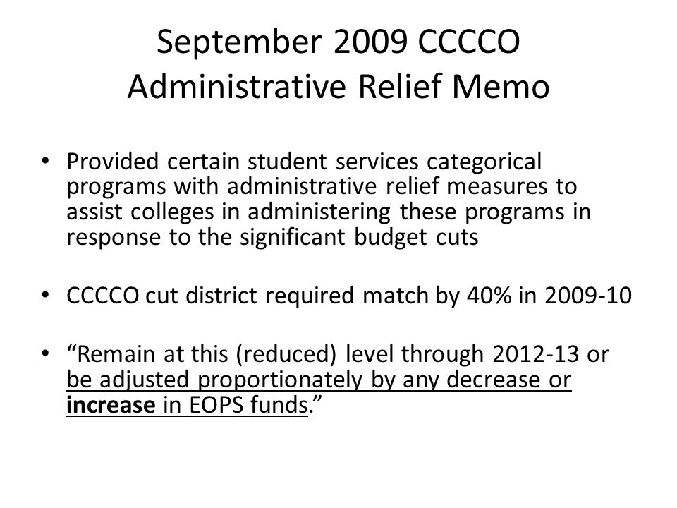 September 2009 CCCCO Administrative Relief Memo