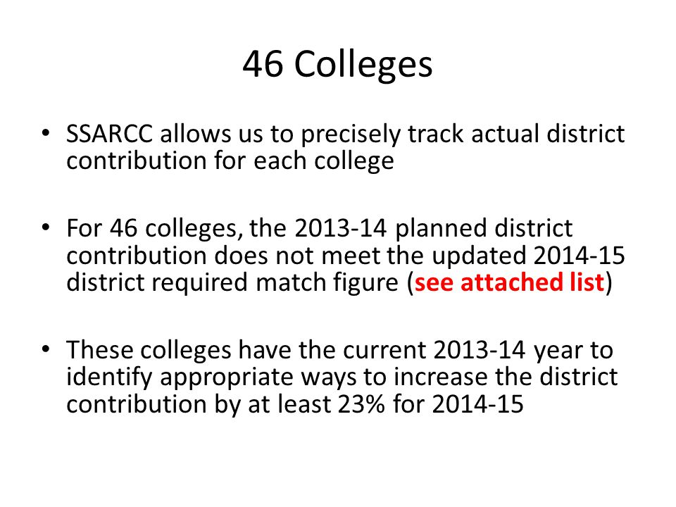 46 Colleges SSARCC allows us to precisely track actual district contribution for each college.