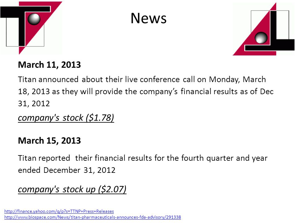 News March 11, 2013 company s stock ($1.78) March 15, 2013