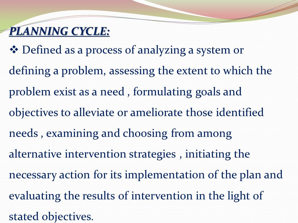 PLANNING CYCLE: