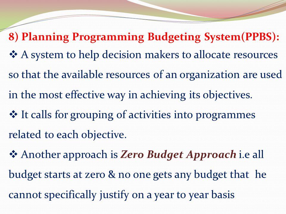 8) Planning Programming Budgeting System(PPBS):