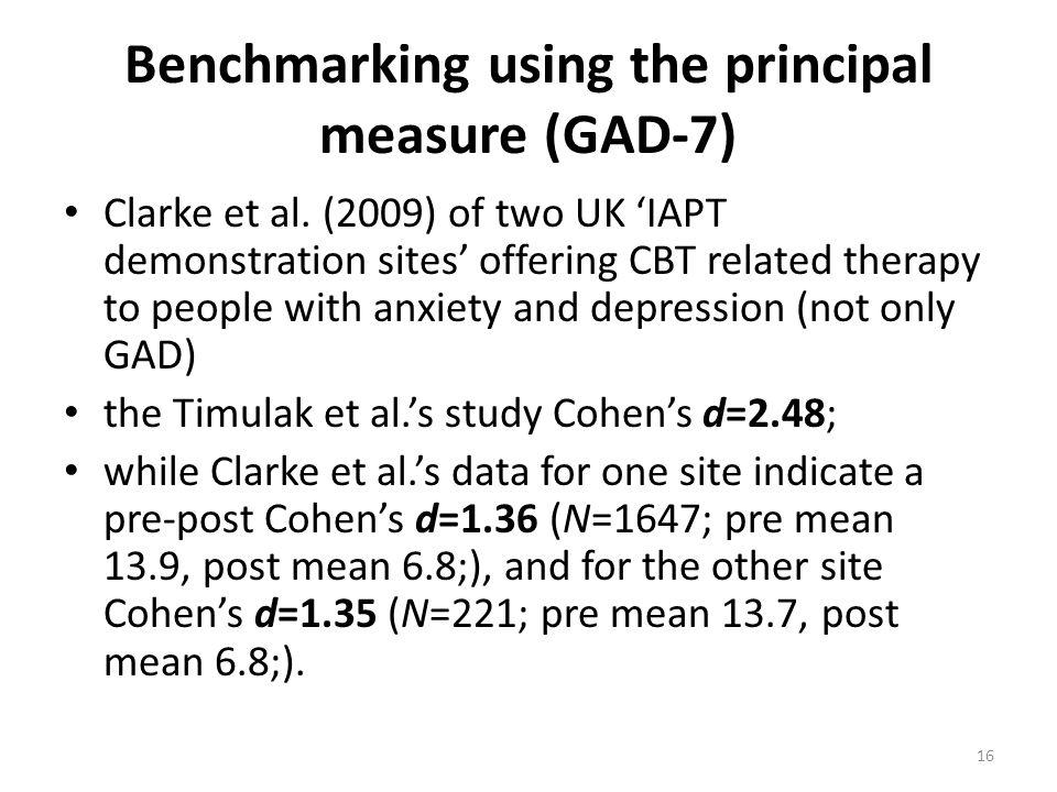 Benchmarking using the principal measure (GAD-7)