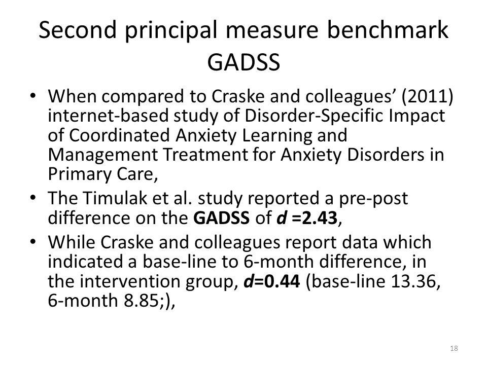 Second principal measure benchmark GADSS