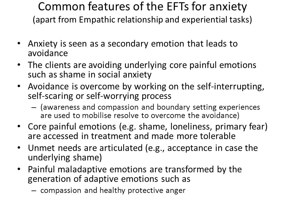 Common features of the EFTs for anxiety (apart from Empathic relationship and experiential tasks)