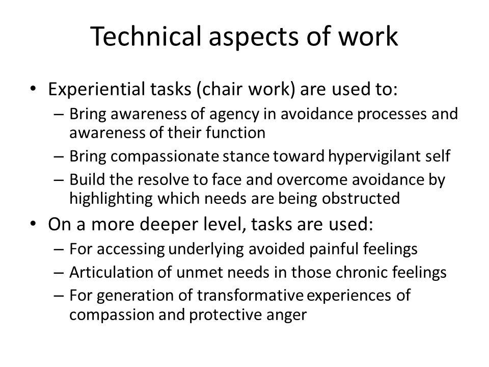 Technical aspects of work