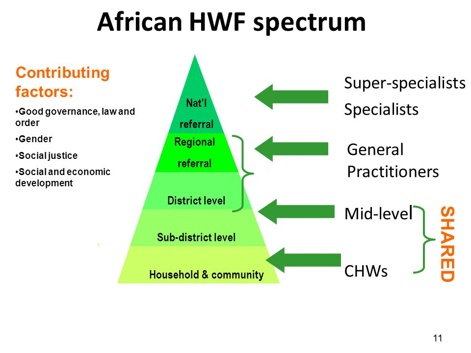African HWF spectrum Super-specialists Specialists Mid-level