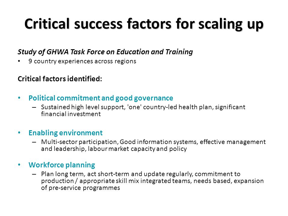 Critical success factors for scaling up