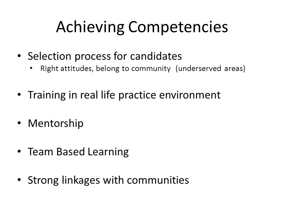 Achieving Competencies