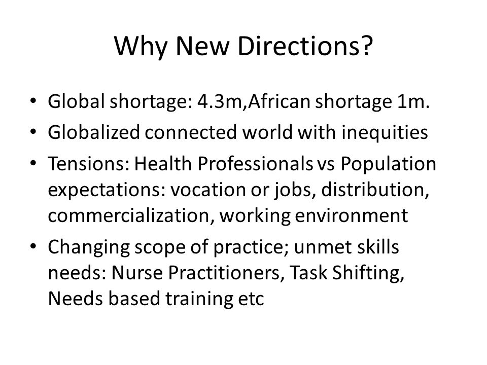 Why New Directions Global shortage: 4.3m,African shortage 1m.