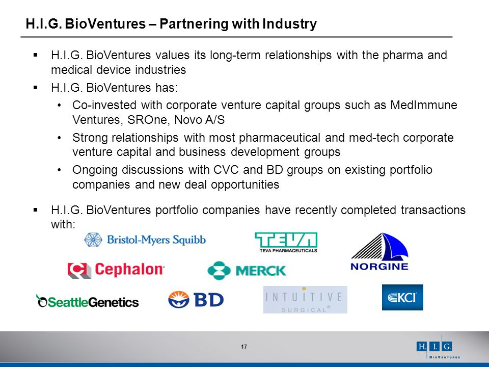 H.I.G. BioVentures – Partnering with Industry