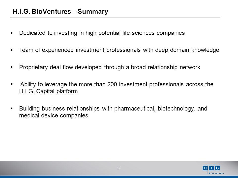H.I.G. BioVentures – Summary