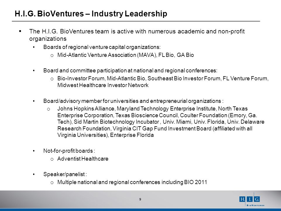H.I.G. BioVentures – Industry Leadership